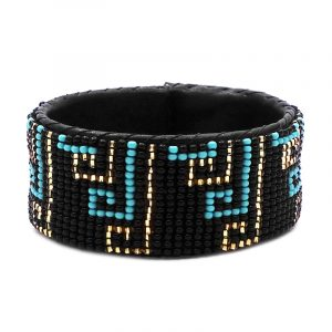 Handmade Czech glass seed bead black leather cuff bracelet with abstract tribal pattern design in black, turquoise mint, and gold color combination.