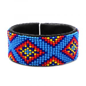 Handmade Native American inspired Czech glass seed bead black leather cuff bracelet with tribal fire diamond pattern design in light blue, blue, red, orange, and yellow color combination.