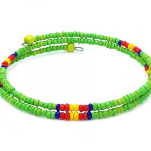 Handmade Native American inspired seed bead wraparound bangle bracelet with memory wire in lime green, blue, red, and yellow color combination.