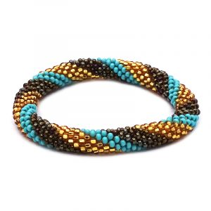 Handmade Czech glass seed bead bangle bracelet with slanted striped pattern design in turquoise mint, dark brown, and gold color combination.
