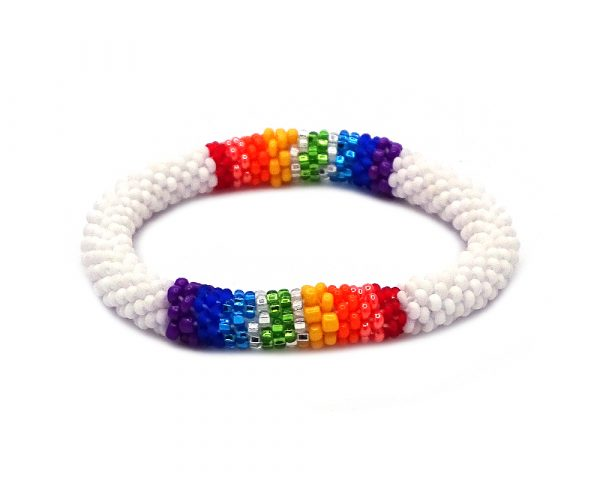 Handmade Czech glass seed bead bangle bracelet with rainbow striped pattern in white color.