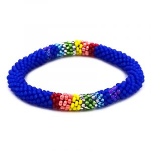 Handmade Czech glass seed bead bangle bracelet with rainbow striped pattern in blue color.
