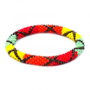 Handmade Czech glass seed bead bangle bracelet with criss cross pattern design in red, orange, yellow, mint green, and dark brown color combination.