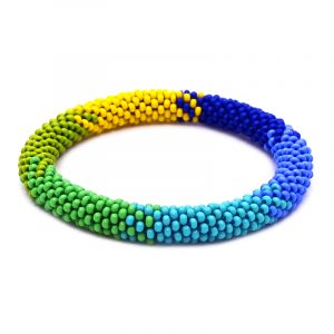 Handmade Czech glass seed bead bangle bracelet with multicolored pattern design in blue, light blue, turquoise, green, lime green, and yellow color combination.