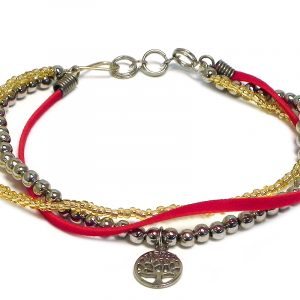 Handmade vegan suede leather, seed bead, and silver metal beaded multi strand bracelet with round tree of life charm in gold and red color combination.