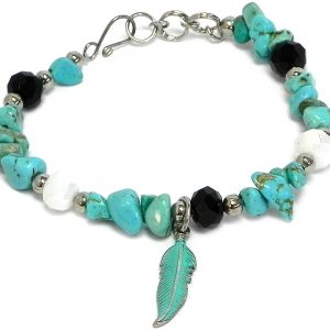 Handmade crystal bead and chip stone bracelet with colored metal feather charm dangle in turquoise blue howlite, mint green, white, and black color combination.