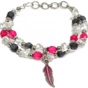 Handmade crystal bead and chip stone double multi strand bracelet with colored metal feather charm dangle in clear, dark gray, and hot pink color combination.