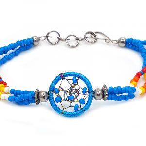Handmade native American inspired multicolored seed bead multi strand bracelet with round beaded thread dream catcher centerpiece in turquoise blue, white, yellow, orange, and red color combination.
