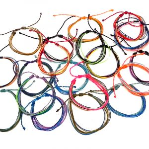 Wholesale assortment of multi strand string pull tie bracelets in multicolored color combination.