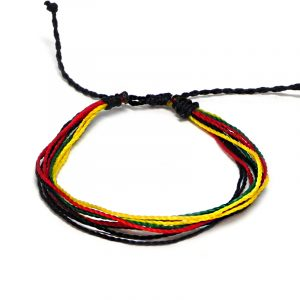 Handmade Rasta multi strand string pull tie bracelet in red, green, yellow, and black color combination.