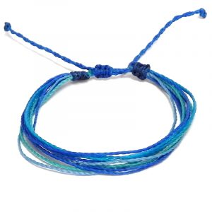 Handmade multicolored multi strand string pull tie bracelet in blue, turquoise, mint, and light blue color combination.