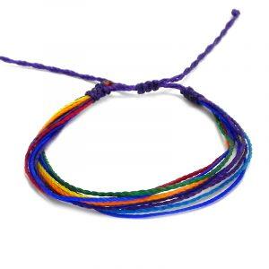 Handmade rainbow multi strand string pull tie bracelet.