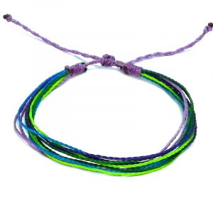 Handmade neon multicolored multi strand string pull tie bracelet in purple lavender, neon lime green, turquoise blue, green, and purple color combination.