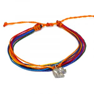 Handmade multicolored multi strand string pull tie bracelet with silver metal elephant charm dangle in rainbow colors.