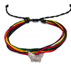 Handmade multicolored multi strand string pull tie bracelet with silver metal butterfly charm dangle in Rasta colors.