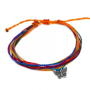 Handmade multicolored multi strand string pull tie bracelet with silver metal butterfly charm dangle in rainbow colors.