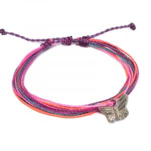 Handmade multicolored multi strand string pull tie bracelet with silver metal butterfly charm dangle in purple lavender, neon salmon pink, pink, and turquoise blue color combination.