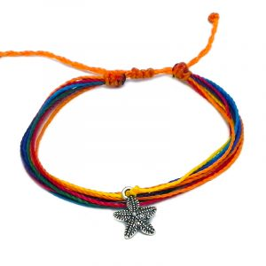 Handmade multicolored multi strand string pull tie bracelet with silver metal starfish charm dangle in rainbow colors.