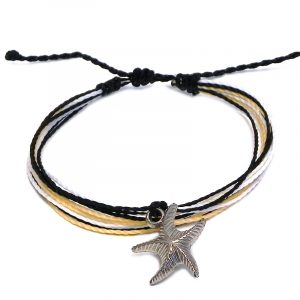 Handmade multicolored multi strand string pull tie bracelet with silver metal starfish charm dangle in black, beige, and white color combination.