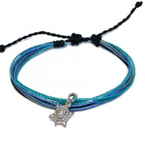 Handmade multicolored multi strand string pull tie bracelet with silver metal sea turtle charm dangle in black, light blue, turquoise, and gray color combination.