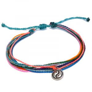 Handmade multicolored multi strand string pull tie bracelet with silver metal yin yang symbol charm dangle in turquoise blue, neon salmon pink, neon orange, purple lavender, green, and mint color combination.