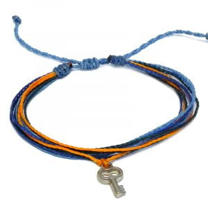 Handmade multicolored multi strand string pull tie bracelet with silver metal key charm dangle in light blue, blue, orange, and teal green color combination.