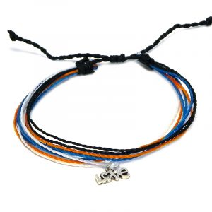 """Handmade multicolored multi strand string pull tie bracelet with silver metal """"LOVE"""" charm dangle in black, orange, turquoise blue, and white color combination."""