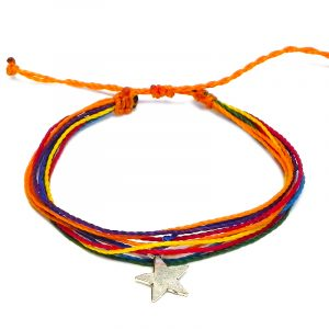 Handmade multicolored multi strand string pull tie bracelet with silver metal star charm dangle in rainbow colors.