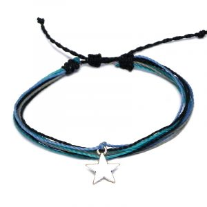 Handmade multicolored multi strand string pull tie bracelet with silver metal star charm dangle in blue, light blue, and gray color combination.