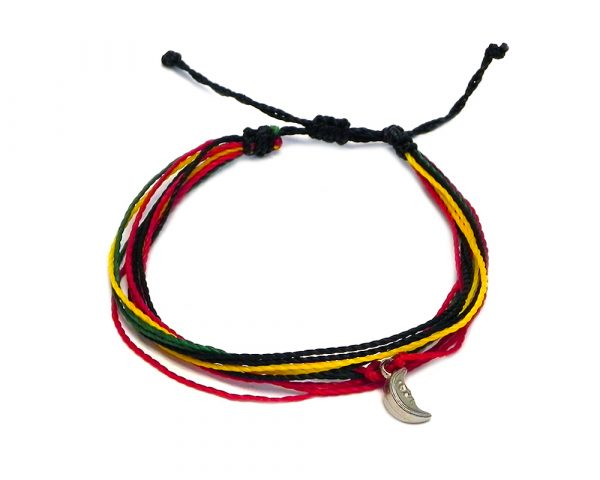 Handmade multicolored multi strand string pull tie bracelet with silver metal crescent half moon charm dangle in Rasta colors.