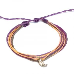 Handmade multicolored multi strand string pull tie bracelet with silver metal crescent half moon charm dangle in purple lavender, beige, peach, and gray color combination.