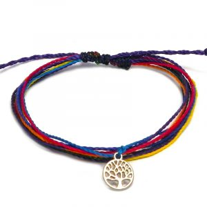 Handmade multicolored multi strand string pull tie bracelet with round silver metal tree of life charm dangle in rainbow colors.