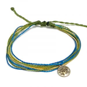 Handmade multicolored multi strand string pull tie bracelet with round silver metal tree of life charm dangle in olive green, turquoise blue, and beige color combination.