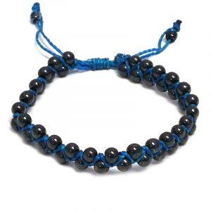 Handmade macramé braided string pull tie bracelet with dark gray hematite gemstone beads in turquoise blue color.