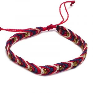 Handmade multicolored macramé braided string pull tie bracelet with gold-colored seed beads in USA American flag color combination.