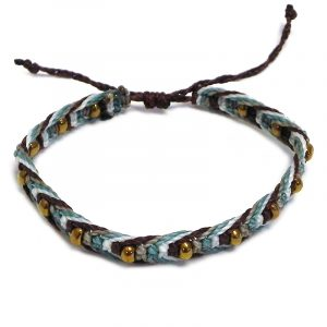 Handmade multicolored macramé braided string pull tie bracelet with gold-colored seed beads in brown, turquoise mint, white, and gray color combination.