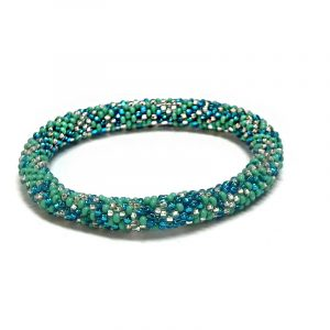 Handmade Czech glass seed bead bangle bracelet in turquoise blue, aqua mint, and white silver color combination.