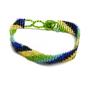 Handmade Czech glass seed bead thin strap bracelet with slanted striped pattern design in turquoise mint, lime green, gold, navy, and blue color combination.