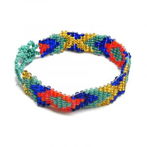 Handmade Czech glass seed bead thin strap bracelet with diamond pattern design in turquoise mint, blue, red, and gold color combination.