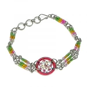 Handmade multicolored seed bead silver metal chain bracelet with round beaded thread dream catcher centerpiece in pink, golden yellow, and lime green color combination.