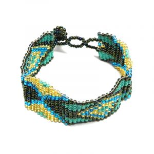 Handmade Czech glass seed bead wide strap bracelet with diamond pattern design in turquoise mint, dark brown, gold, and blue color combination.