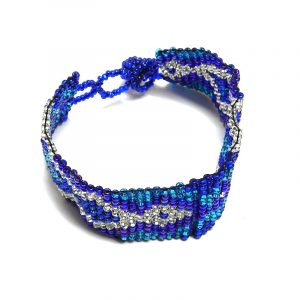 Handmade Czech glass seed bead wide strap bracelet with fractal diamond pattern design in blue, turquoise, and silver color combination.
