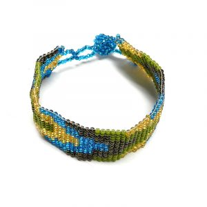 Handmade Czech glass seed bead wide strap bracelet with pixel arrow pattern design in lime green, turquoise blue, gold, and dark brown color combination.