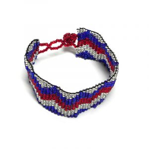 Handmade Czech glass seed bead wide strap bracelet with zig zag pattern design in USA American flag color combination.