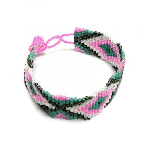 Handmade Czech glass seed bead wide strap bracelet with diamond pattern design in pink, white, turquoise mint, and black color combination.