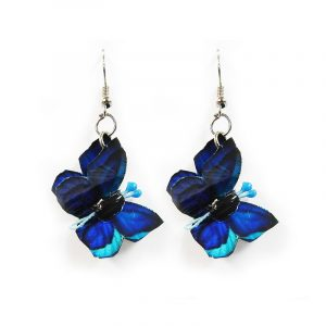 Three-dimensional butterfly durable plastic dangle earrings in blue, turquoise and black color combination.