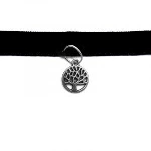Handmade choker necklace with round silver metal tree of life charm, black velvet ribbon, and easy hook clasp closure.