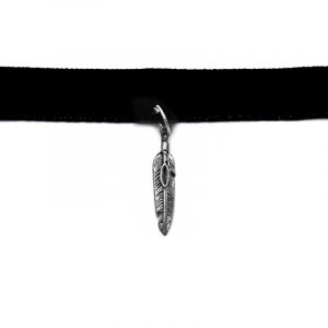Handmade choker necklace with silver metal feather charm, black velvet ribbon, and easy hook clasp closure.