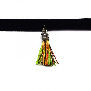 Handmade black velvet ribbon choker necklace with silver metal and Rasta silk thread tassel dangle in lime green, yellow, red, and black color combination.