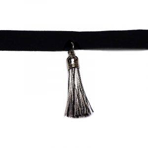 Handmade black velvet ribbon choker necklace with silver metal and multicolored silk thread tassel dangle in black, white, and gray color combination.